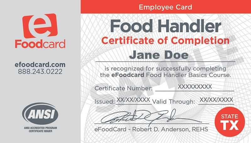 Food Handler's Certification - Texas Cottage Food Law
